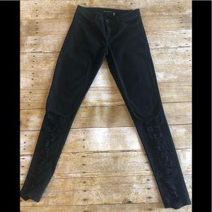 Elie Tahari Shredded Azella Skinny Black Jeans 26